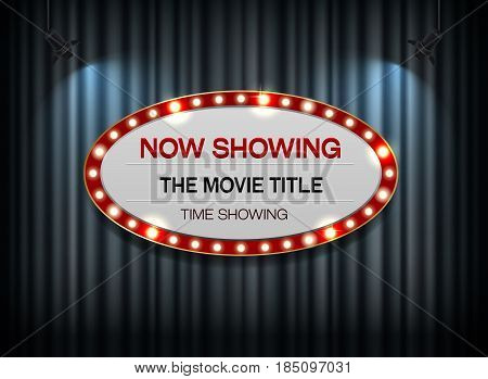 Theater sign ellipse red border on curtain and spot light background