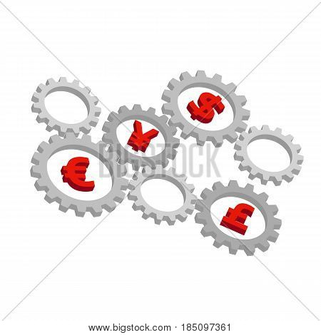 Rotating 3D gears with currency symbols inside - dollar, euro, pound and yen. International finance system concept. Mechanism with money signs on white background. Simple vector clip art.
