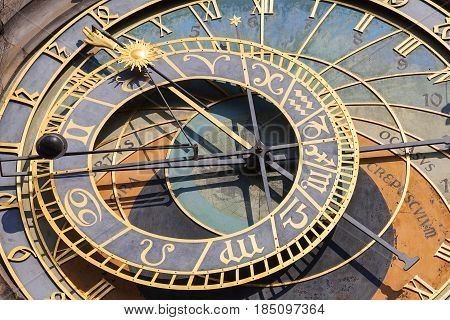 Prague astronomical clock Orloj on Old Town Hall Prague Czech Republic Europe