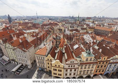 PRAGUE CZECH REPUBLIC-MAY 01 2017 : View from Old Town Hall on Prague. Prague is the capital and largest city of the Czech Republic. Situated on the Vltava river the city is home to about 1.26 million people