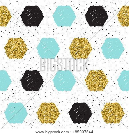 Doodle Hexagon Seamless Background. Black, Blue And Gold Hexagon.