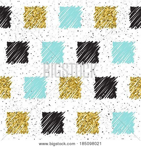 Doodle Square Seamless Background. Black, Blue And Gold Square.