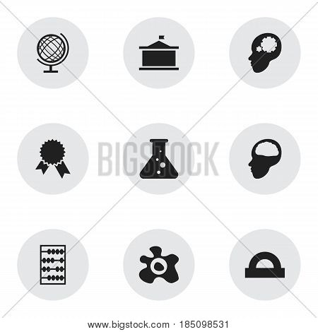 Set Of 9 Editable Education Icons. Includes Symbols Such As Chemistry, Semicircle Ruler, Cerebrum And More. Can Be Used For Web, Mobile, UI And Infographic Design.
