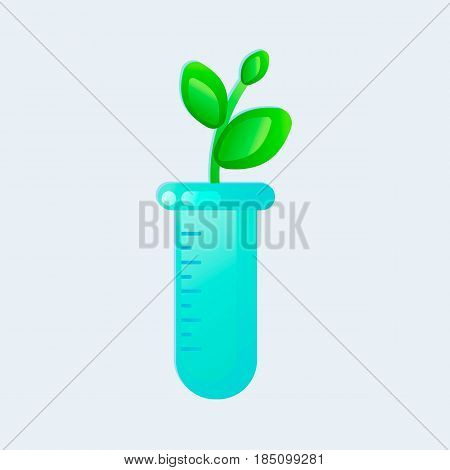 Genetic engineering. GMO. Plant in test tube. Vector illustration