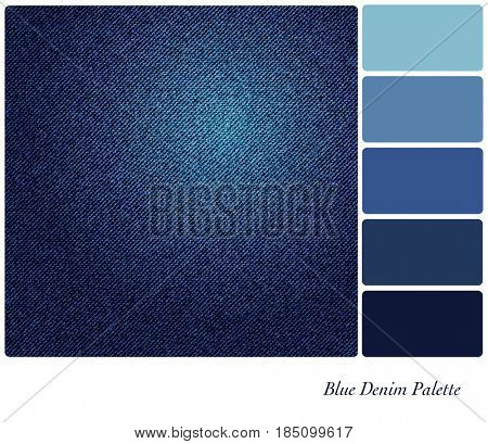 A background of indigo blue denim. In a colour palette with complimentary colour swatches.
