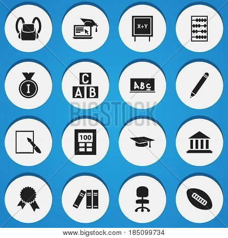 Set Of 16 Editable Graduation Icons. Includes Symbols Such As Graduation Hat, Pencil, Blackboard And More. Can Be Used For Web, Mobile, UI And Infographic Design.