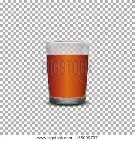 Glass of scotch whiskey over transparent background