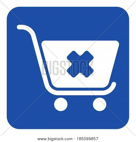 blue rounded square information road sign with white shopping cart cancel icon