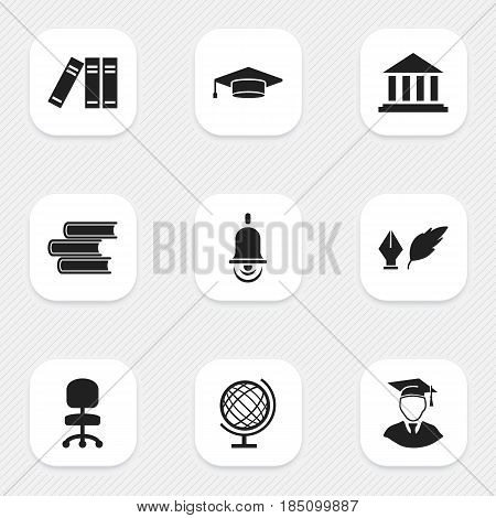 Set Of 9 Editable University Icons. Includes Symbols Such As Work Seat, Bookshelf, Earth Planet And More. Can Be Used For Web, Mobile, UI And Infographic Design.