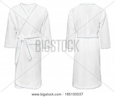 white bathrobe for home, isolated white background