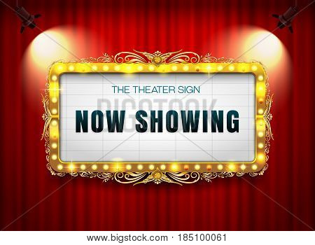 theater sign gold on curtain with spotlight vector illustration