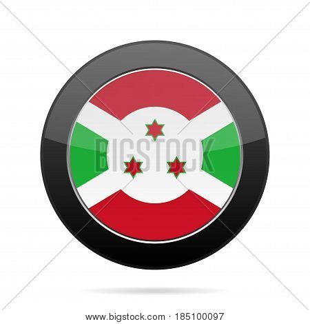 National flag of Burundi. Shiny black round button with shadow.