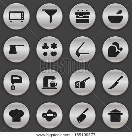 Set Of 16 Editable Meal Icons. Includes Symbols Such As Cook Cap, Crusher, Agitator And More. Can Be Used For Web, Mobile, UI And Infographic Design.