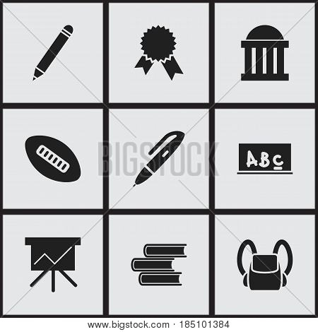 Set Of 9 Editable University Icons. Includes Symbols Such As Pen, Chart Board, Courtroom And More. Can Be Used For Web, Mobile, UI And Infographic Design.