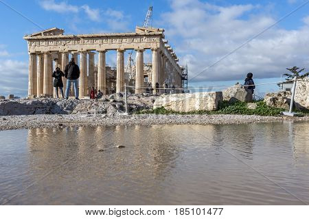 ATHENS, GREECE - JANUARY 20 2017:  Amazing panorama of The Parthenon in the Acropolis of Athens, Attica, Greece