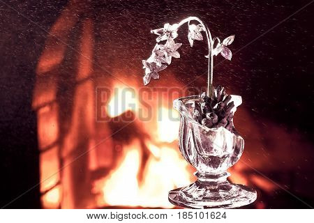 silver flowers, Background Texture Fireplace. candle holder