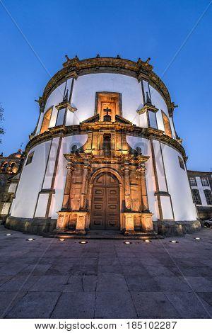 Night view of Serra do Pilar Monastery church in Porto Portugal