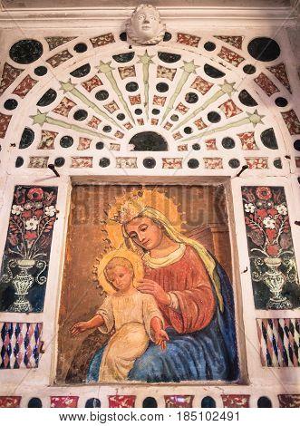 San Bonifacio Italy - March 11 2017: Detail of the altar of the votive church of Saint Mary of the Alzana famous for the many unexplained healings.