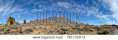 Teide Volcano And Garcia Rocks With Cinchado Rock On Tenerife.