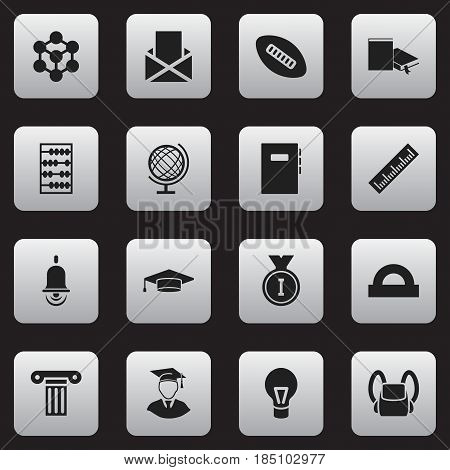 Set Of 16 Editable Education Icons. Includes Symbols Such As Workbook, Schoolbag, Earth Planet And More. Can Be Used For Web, Mobile, UI And Infographic Design.
