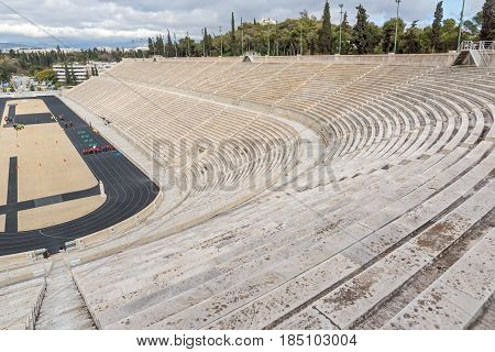 ATHENS, GREECE - JANUARY 20 2017: Panathenaic stadium or kallimarmaro in Athens,  Attica, Greece