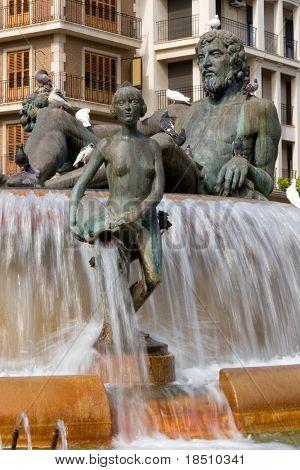 Fuente del Turia Monument in the Plaza of the Virgin in Valencia, Spain