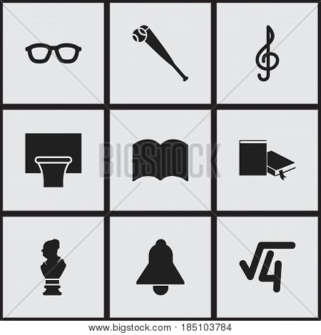 Set Of 9 Editable Education Icons. Includes Symbols Such As Spectacles, Bat, Bookmark And More. Can Be Used For Web, Mobile, UI And Infographic Design.