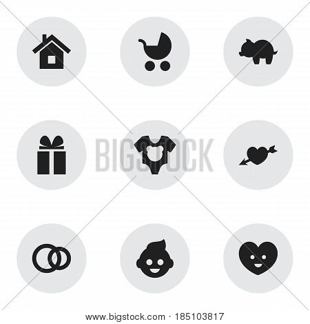 Set Of 9 Editable Folks Icons. Includes Symbols Such As Perambulator, Love, Home And More. Can Be Used For Web, Mobile, UI And Infographic Design.