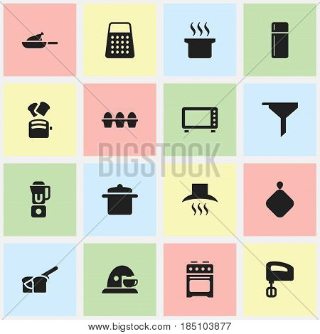 Set Of 16 Editable Cook Icons. Includes Symbols Such As Slice Bread, Filtering, Shredder And More. Can Be Used For Web, Mobile, UI And Infographic Design.