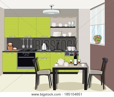 Modern cozy graphic kitchen interior design with stove, cupboard and dishes. Dining room with table, chairs and window.  Flat style vector illustration.