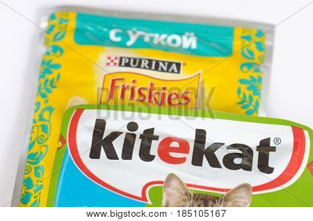SARANSK, RUSSIA - MAY 06, 2017: Kitekat and Friskies wet cat food on a white background.
