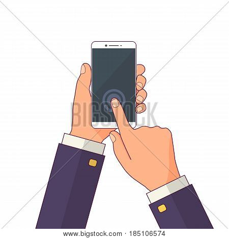 Hand holding mobile phone in flat design style. Vector illustration