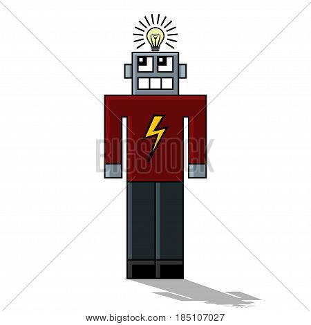Illustration robot cartoon character on a white background.
