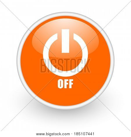 Power off modern design glossy orange web icon on white background.