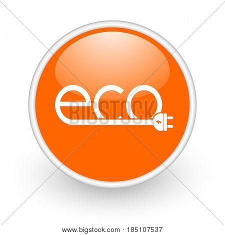 Eco electric plug modern design glossy orange web icon on white background.