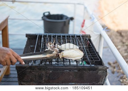 Hand Of Someone Are Gril Fresh Squid On Hot Stove With Ice Tong. This Image For Food And Aquatic Ani