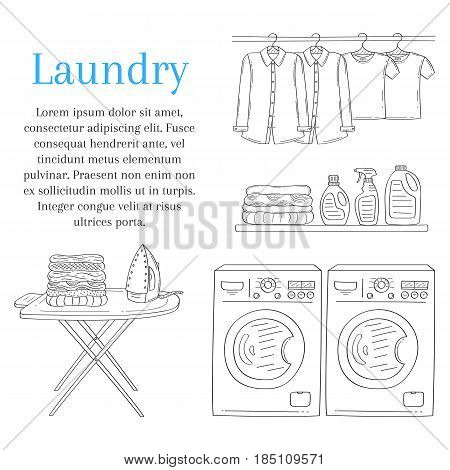 Laundry room with washing machine, iron, ironing board, detergent, folded clothes and clothes hanging on hangers, vector illustration, hand drawn sketch style.