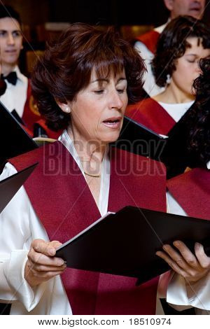 VALENCIA, SPAIN - DECEMBER 4: The choir of the University Catolica de Valencia performs at the Palau de la Musica concert hall on December 4, 2009 in Valencia, Spain.