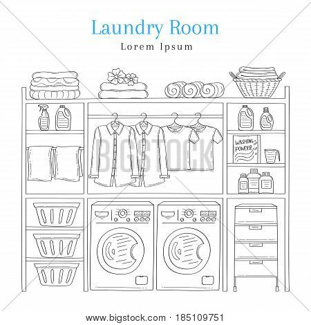 Laundry room interior with washing machine, detergent, laundry basket, folded clothes and clothes hanging on hangers, vector illustration, hand drawn sketch style.