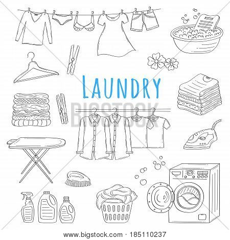 Laundry service hand drawn doodle icons set, vector illustration. Washing, drying and ironing symbols, washing machine, laundry basket, clothes hanging on hangers, iron, pile of clothing, clothespins.