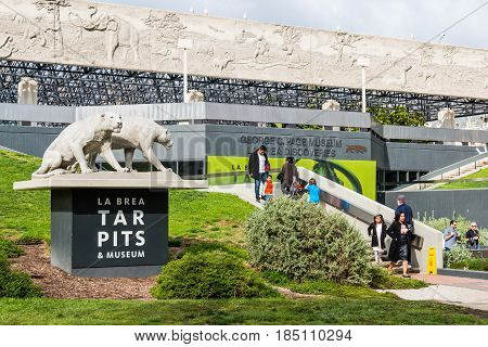 LOS ANGELES, CALIFORNIA - FEBRUARY 19, 2017:  LOS ANGELES, CALIFORNIA - FEBRUARY 19, 2017:  Statue of saber tooth tigers near entrance on sign at the La Brea Tar Pits, Ice Age excavation site/museum.
