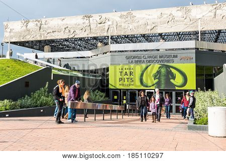 LOS ANGELES, CALIFORNIA - FEBRUARY 19, 2017:  Entrance to the La Brea Tar Pits, an Ice Age fossil excavation site and museum.
