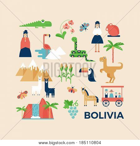 Vector illustration sightseeings of Bolivia with nature animals and people in traditional clothes. Flat design style. Poster or greeting card