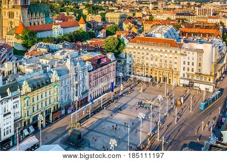 Aerial view on national public square Ban Jelacic in city center of town Zagreb, capital of Croatia, Europe. poster
