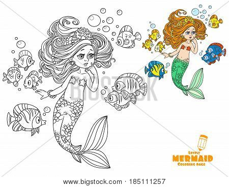 Beautiful Little Mermaid Girl Amazement Communicates With The Fish Coloring Page On White Background