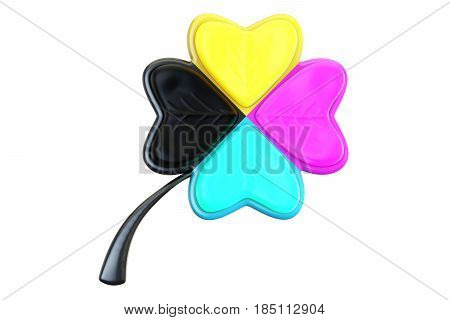 CMYK concept with leaf clover 3D rendering isolated on white background