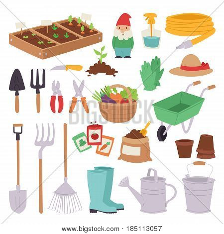 Gardening icon set agriculture design spring nature environment ecology tool garden flowerpot ground vector illustration. Botanical summer environment.