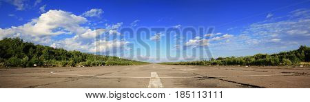 Endless, lonely wide road, which runs towards the horizon, landscape, summer sunny day.