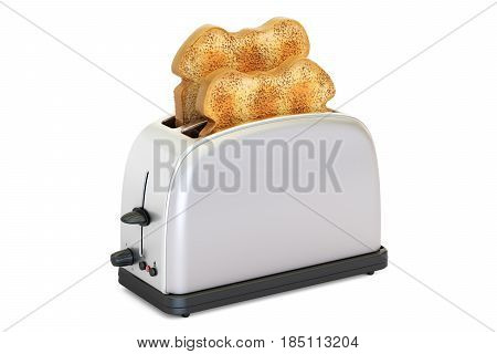 Toaster with bread 3D rendering isolated on white background