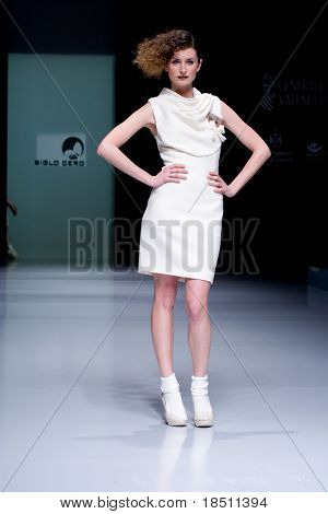 VALENCIA, SPAIN - FEBRUARY 3:  A model on the catwalk wearing a Siglo Cero design for the Valencia Fashion Week on February 3, 2010 in Valencia, Spain.